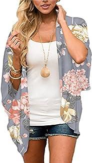 Jiuhexuj Womens Kimono Cardigans Boho Floral Print Chiffon Cardigan Blouse Top Beach Outwear