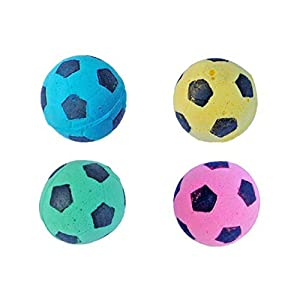 PETFAVORITES™ Foam/Sponge Soccer Ball Cat Toy Best Interactive Cat Toys Ever Most Popular Independent Pet Kitten Cat Exrecise Toy balls for Real Cats Kittens, Soft/Bouncy/Noise Free, 24 Pack.