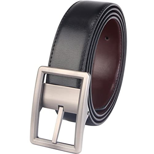 32-34, Black Rotated Buckle Beltox Fine Mens Dress Belt Leather Reversible 1.25 Wide Rotated Buckle Gift Box
