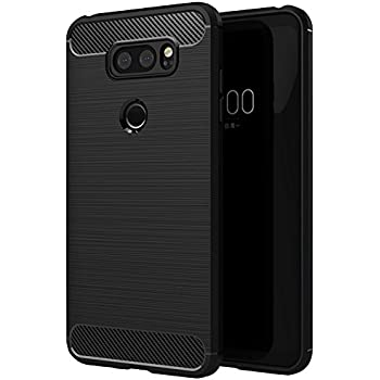 LG V30 Case - OEAGO [Luxury Brushed] [Texture Carbon Fiber] Ultra Slim Lightweight Flexible Soft TPU Bumper Shock Absorption Rubber Protective Case Cover for LG V30 - Black
