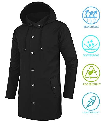 fd69ab2c4 DOSWODE Men Waterproof Raincoat Hooded Windbreaker Lightweight Long ...