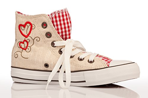 Trachten Damen Sneaker - KARO-MADL - blau, rot Rot