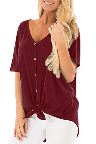 Women Twist Knot Button V Neck Short Sleeve Shirt Loose Summer Casual Tie Front Top Maroon ()