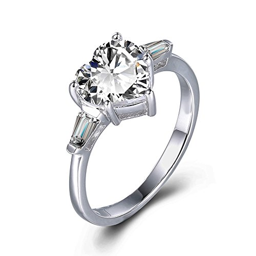 Ring Baguette Heart (espere Sterling Silver White Gold Plating 2CT CZ Baguette Heart Ring Solitaire Engagement Rings Size 5)
