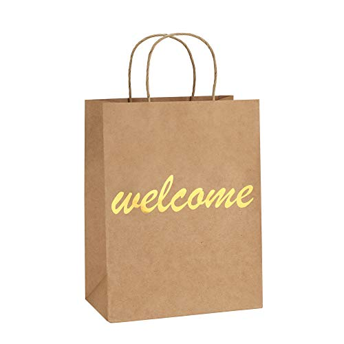 BagDream Brown Kraft Paper Welcome Gift Bags Bulk with Handles 25Pcs 8x4.25x10.5 Inches Shopping Gifts Wedding Bags, Good for Packaging, Retail, Party, Craft, Recycled, Goody and Merchandise Bags -