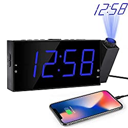 OnLyee Projection Clock, 7LED Digital Desk/Shelf Clock on Ceiling Wall with Dimmer, USB Charging, AC Powered and Battery Backup for Bedroom, Kitchen, Kids