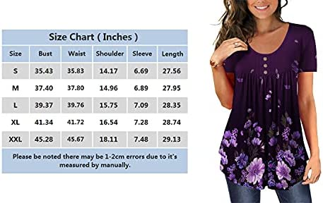 BEADCHICA WOMEN'S TUNIC TOPS FOR LEGGINGS SHORT SLEEVE SHIRTS BOTTON UP CASUAL RUCHED BLOUSES CLOTHING