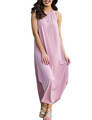 Women Irregular Hem Maxi Dress Sleeveless Loose Swing Casual Long Dress