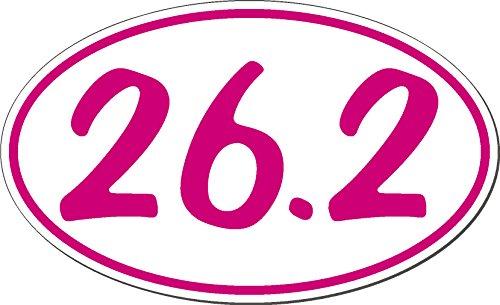 26.2 Runner Oval Marathon (26.2, I Make Decals™, Pink Oval Marathon Run car bumper window sticker 5