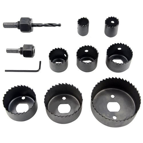 XLX 11PCS Hole Saw Kit (with 2 Mandrel 1 Mandrill 8 Blade and 1 Hex Key Wrench) 3/4