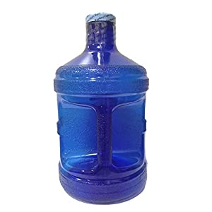 AquaNation 1 Gallon BPA FREE Reusable FDA Grade Chemical Free Plastic Drinking Water Big Mouth Bottle Jug Container with Holder Drinking Canteen (Dark Blue)