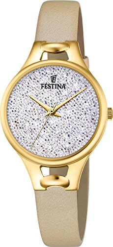 Women's Watch Festina - F20335/1 - White Crystals from Swarovski - Beige Leather Band