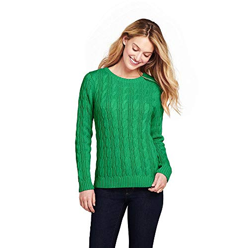 (Lands' End Women's Drifter Cotton Cable Knit Sweater Crewneck, XS, Vibrant Clover)