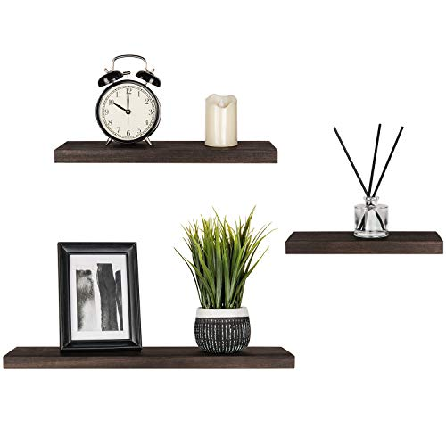 Mkono Floating Shelves Wood Wall Shelf Rustic Wall Mount Pine Shelf Set of 3 Home Decor Photo Display Ledges with Invisible Bracket for Living Room/Bedroom/Bathroom/Kitchen (Living Room Pine)