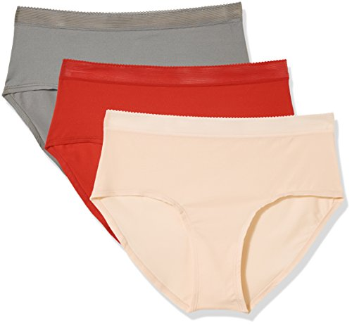 Madeline Kelly Women's 3 Pack Brief in 360 Stretch Red-Gray-Pink XXL ()
