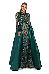 Style O Long Sequin Mermaid Dress With Long Sleeves