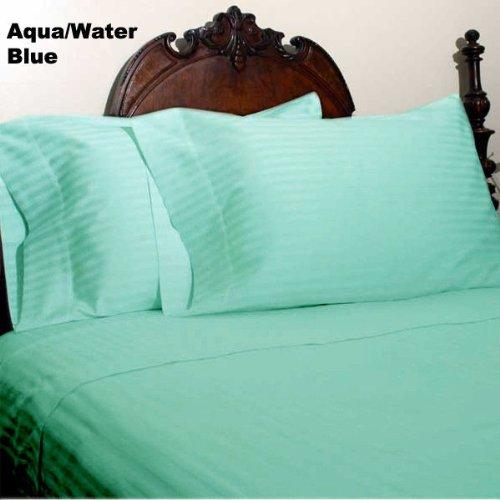 (100% Egyptian Cotton 4pc 800tc Bed Sheet Set, Queen Size Aqua Green Stripe Sp-1040)