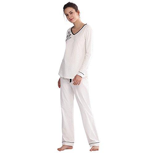 76ef033738 Jual Keyocean Women Pajamas 100% Cotton Long Sleeve Long Pant Soft ...