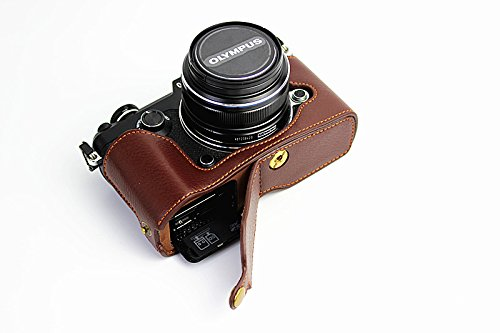 Bottom Opening Version Protective Genuine Real Leather Half Camera Case Bag Cover with Tripod Design for Olympus PEN-F Camera with Genuine Real Leather Hand Strap Dark Brown - Protective Case Olympus