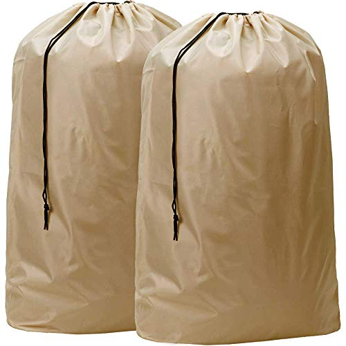 HOMEST 2 Pack Nylon Laundry Bag, 28 x 40 Inches Travel Drawstring Bag, Rip-Stop Large Hamper Liner, Machine Washable, Camel-Brown