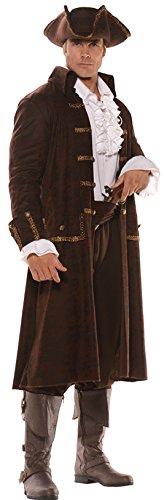 UHC Men's Captain Barrett Outfit Pirate Fancy Dress Adult Halloween Costume, OS -