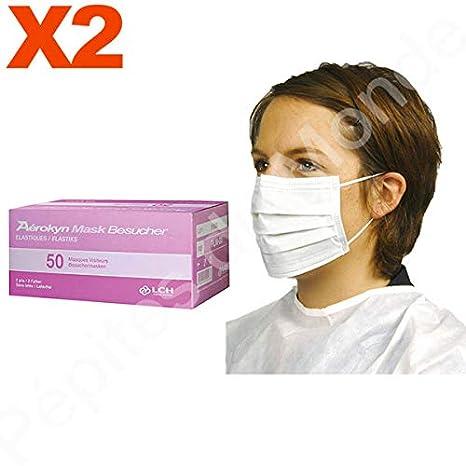 Máscara médico 2 pliegues Color Blanco elásticas ...