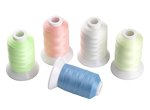 5 Different Colors Glow In the Dark Embroidery Thread 1000 Yards Each for Brother Janome Pfaff Babylock Singer Bernina Husqvaran and Most Home Embroidery Machines Special Embroidery Designs