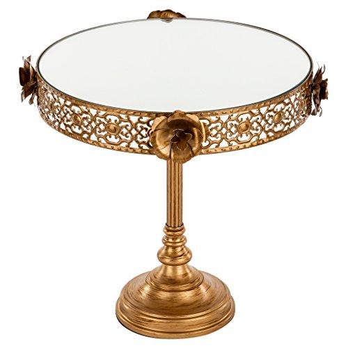 Madeleine Collection Antique Gold 10 Inch Mirror Cake Stand, Round Tall Metal Floral Dessert Cupcake Wedding Party Pedestal Display