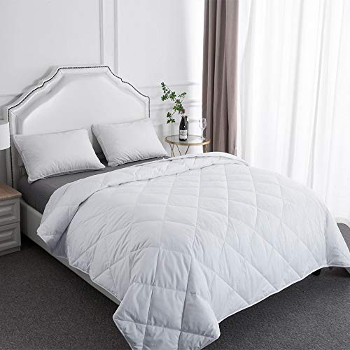 Filled Comforter Winter Wool Weight - BESC Wool & Goose Down Fill Comforter Twin Size - Lightweight 380TC Silky Cooling Duvet Insert Humidity Fighting -68