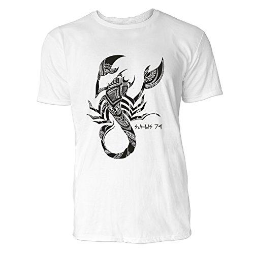 SINUS ART® Handgezeichneter Skorpion im Tribal Stil Herren T-Shirts in Weiss Fun Shirt mit tollen Aufdruck
