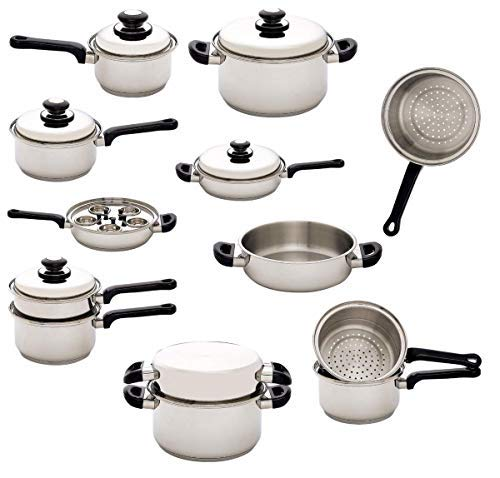 17pc Stainless Steel Waterless Cookware Set ()