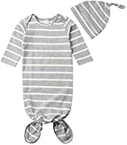 Newborn Baby Sleeper Gowns Unisex Striped Knotted Nightgowns Hat Sleepwear Sleeping Bag Coming Home Outfits 0-