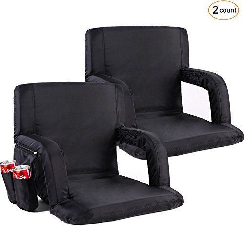 Sportneer Portable Stadium Seat Chair, Reclining Seat for Bleachers with Padded Cushion Shoulder Straps, Black, 2 Pack ()