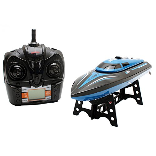 Zlimio High Speed 2.4GHz 4CH Remote Control RC Boat Electric Toy for Pools, Lakes and Outdoor Adventure, With LCD Screen