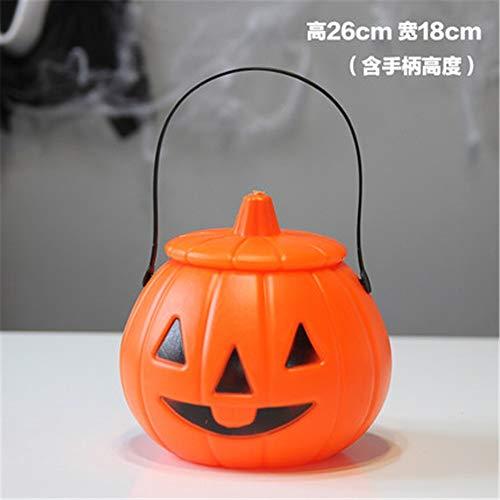 Mjia Lamp Halloween String,Pumpkin Light Props, Handmade Children's Portable Glowing Pumpkin Bucket, Candy Can, Lantern Ornament, A -