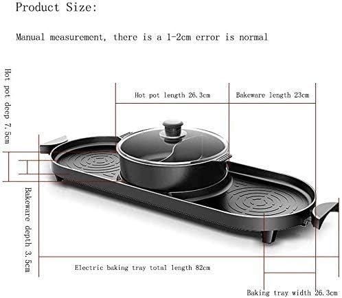 LKNJLL Barbecue électrique, intérieur et Ourdoor Hot Pot avec Barbecue médical Pierre antiadhésive Portable for 2-12 Personnes Rassemblements