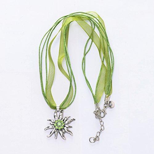 Jane Stone Collier Tatouage Ras du Cou Ruban Cordon Vert Pendentif Edelweiss Fleur Personnalise Femme Bijoux Tendance