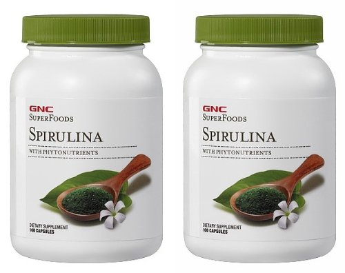 GNC Superfoods spiruline 2 Packs chacun des 100 Capsules