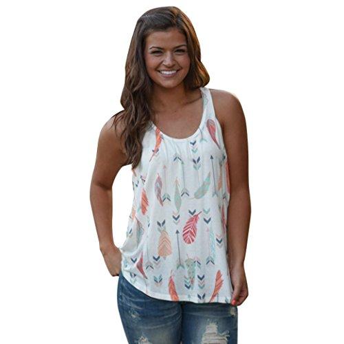 Bafaretk Feather Sleeveless T-Shirt Top Women Polyester Shirts Blouse Arrow Print Sleeveless Tank Top (Feather Print Tank)
