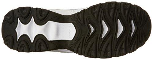 Skechers Sport Heren Afterburn Staking Memory Foam Velcro Sneaker, Wit / Marine, 11 4e Ons