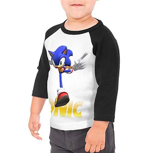 Black6Red Sonic The Hedgehog Cartoon Children's 3/4 Sleeve T-Shirt 5/6T]()