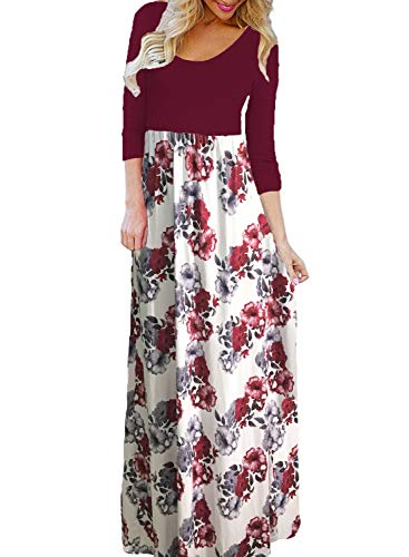 BLUETIME Women's Maxi Dress Floral Printed Autumn 3/4 Sleeve Casual Tunic Long Dress (Wine Red, M) ()