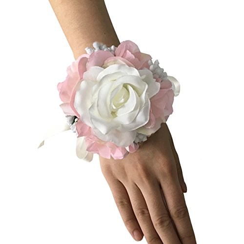 FAYBOX Wedding Prom Ivory Pink Silk Flower Wrist Corsage Wedding Flower Pin Brooch (Corsages For Prom)