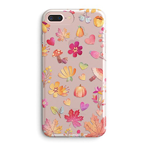 iPhone 7 Plus Case,iPhone 8 Plus Case,Girls Yellow Fall Maple Leaves Summer Tropical Flowers Daisy Cute Funny Autumn Plants Pine Nuts Floral Soft Clear Case for iPhone 8 Plus(iPhone 7 (Autumn Leaves Pattern)
