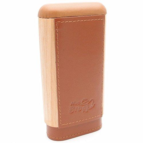 Tan Leather Cigar - Spanish Cedar & Leather Robusto Cigar Case - Authentic Full Grade Buffalo Hide Leather - Tan