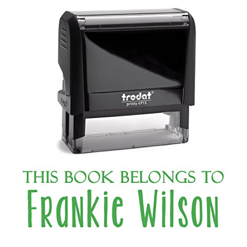 Green Ink, Self Inking Stamp. Personalized; This Book Belongs To, From The Library or A Bank Deposit Stamp! Customized Stamper. Fill In With Your Custom Information Into 2 Lines With Unique Font by Pixie Perfect Stamps