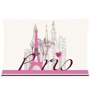Paris Building Romantic Country Tower Paris Eiffel Zippered Pillow Case 16x24 (Twin sides)