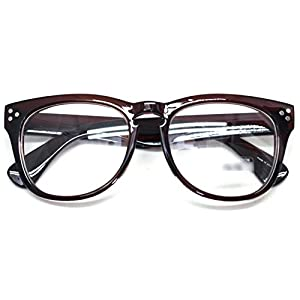 Classic Round Horn Rimmed Eye Glasses Clear Lens Oval Non Prescription Frame (Brown 9294, Clear)