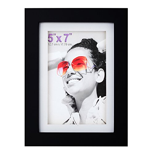 RPJC 5x7 inch Picture Frame Made of Solid Wood and High Definition Glass Display Pictures 4x6 with Mat or 5x7 Without Mat for Wall Mounting Photo Frame Black ()