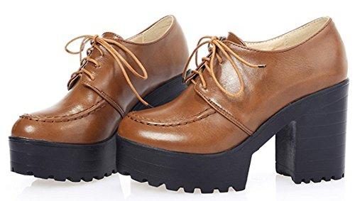 Women's IDIFU Brown Platform Up High Heels Chunky Vintage Oxfords Low Lace Top Shoes HFw4qFaxrd